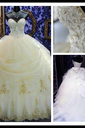 Deluxe Wedding DressBeaded Embellished Lace Appliqués Sweetheart Floor Length Tulle Wedding Gown Featuring Lace-Up Back and Train , Royal Wedding Dress, Cathedral Wedding Dress, Beaded Wedding Dress, Sweetheart Wedding Dress, Ball Gown Wedding Dress, Hot Sale Wedding Dress, Custom Wedding Dress