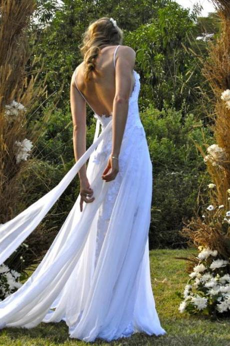 Boho Wedding Dresses Spaghetti Backless Summer Beach Bridal Gowns