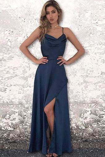 A-Line Spaghetti Straps Backless Floor-Length Chiffon Prom Dress with Spilt-Side