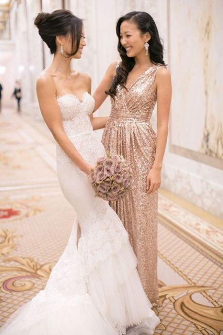 Sequin Bridesmaid Dress,Long Bridesmaid Gown,Sequined Bridesmaid Gowns,Sequins Bridesmaid Dresses,V neckline Bridesmaid Gown
