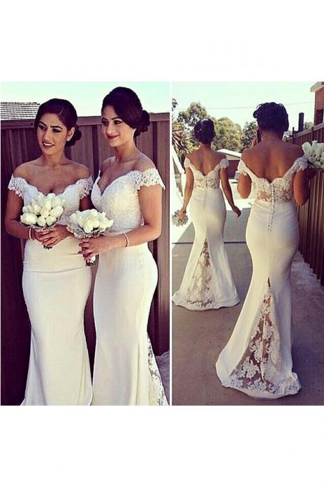 Lace Bridesmaid Dress,Long Bridesmaid Gown,Off the Shoulder Bridesmaid Gowns,Mermaid Bridesmaid Dresses,White Bridesmaid Gowns,2016 Bridesmaid Dress,Spring Bridesmaid Gowns