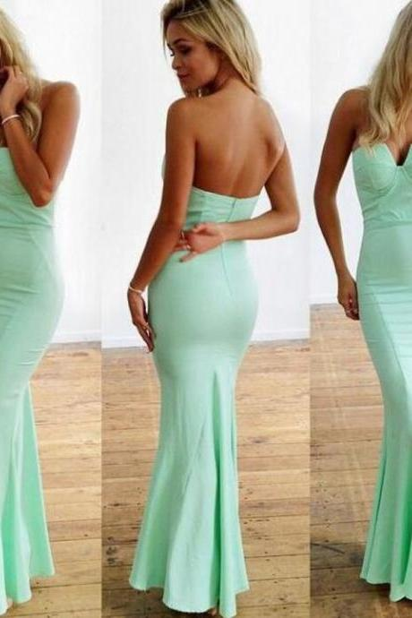 Customisable Mint Green Strapless Floor Length Mermaid Bridesmaid Dresses