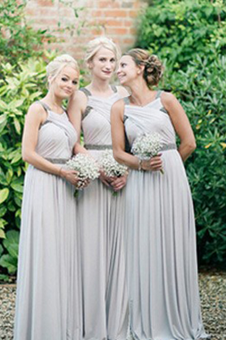 Customisable Grey Chiffon Long Sleeveless A-Line Bridesmaid Dress with Beading