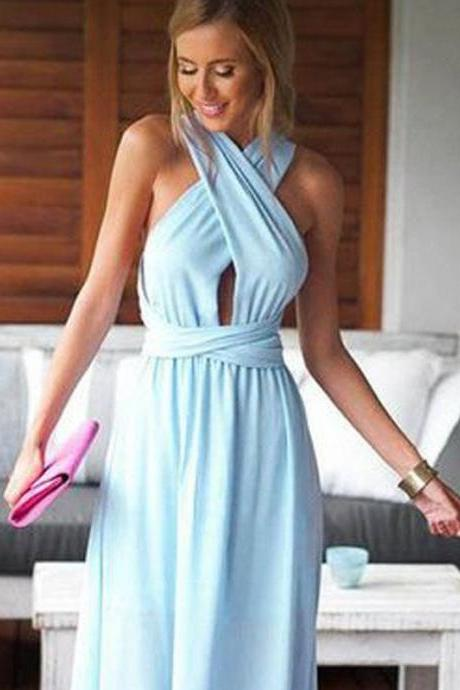 Custom Made Keyhole Neckline Chiffon Long Evening Dress, Prom Dresses, Bridesmaid Dresses, Bridal Collection