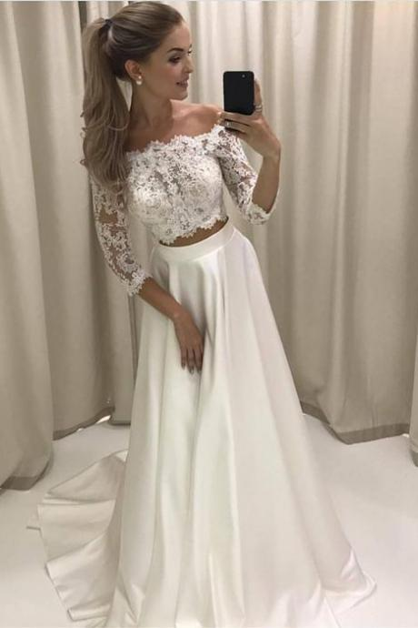 Custom Made White Quarter Long Sleeve Off Shoulder Two-Piece Wedding Dress with Satin Skirt