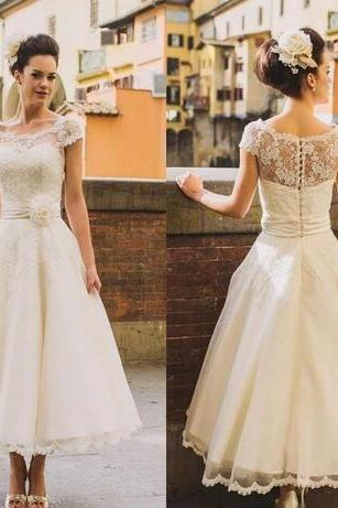 Wedding Dress,Wedding Dresses,Summer Wedding Dresses,Beach Wedding Dresses,Sheer Neck Short Sleeve Tea Length Lace Wedding Dresses
