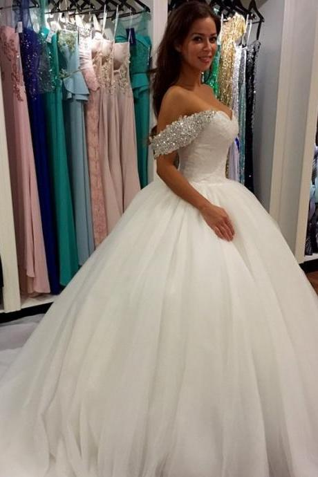Wedding Dress,Wedding Dresses,Off Shoulder Wedding Dresses,Ball Gown Wedding Dresses,Sweetheart Beading Wedding Dresses