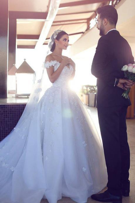 Wedding Dress,Wedding Dresses,White Organza with Flowers Cathedral Train Wedding Dresses,Ball Gown Bridal Dresses