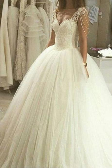 Elegant Floor Length Bridal Dresses Sweetheart Ivory Ball Gown Wedding Dress with Beading Lace Wedding Dress