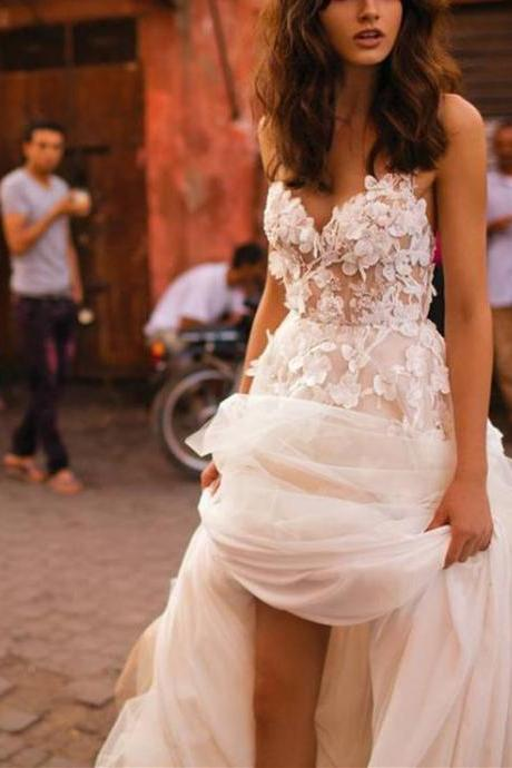Long Strapless Wedding Dresses,Charming Applique Bridal Dress,Elegant Sweetheart Prom Dresses, Wedding Dress, Gorgeous Bridal Dress