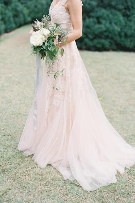 New Arrival A Line Light Pink Lace Wedding Dresses, Lace Wedding Gowns, Lace Bridal Dresses,The Charming V-Neck Wedding Dresses