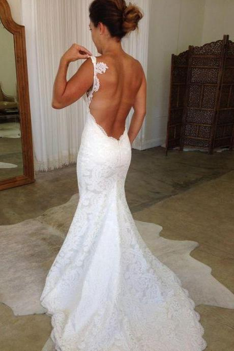 Backless Spaghetti Straps Lace Mermaid Wedding Dresses