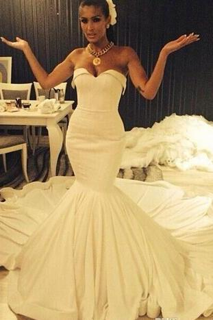 Strapless Satin Mermaid Long Wedding Dresses