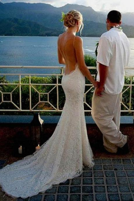 Spaghetti straps Backless Lace Beach Wedding Dresses