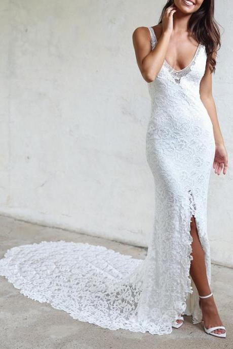 Sheer Straps Backless Splits Lace Mermaid Wedding Dresses