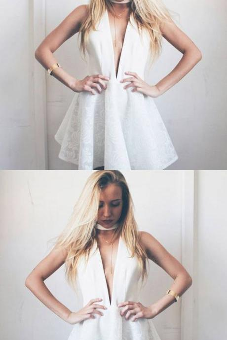 A-Line Deep V-Neck White Homecoming Dress with Lace Short Prom Dress
