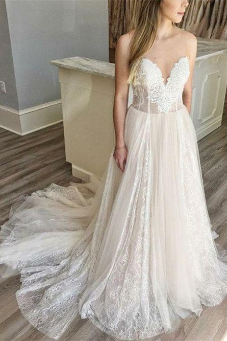 A-Line Sweetheart Sweep Train Light Champagne Wedding Dress with Appliques