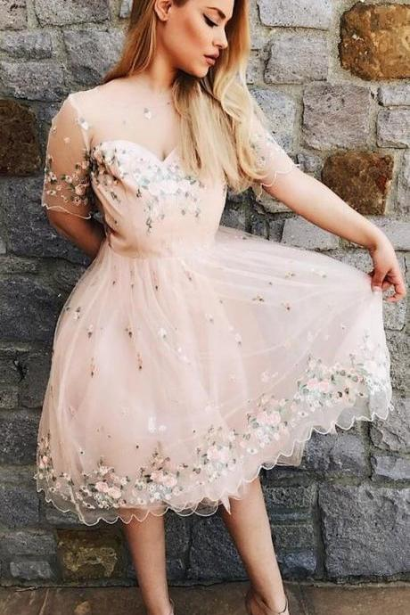 A-Line Bateau Short Sleeves Pink Lace Homecoming Dress