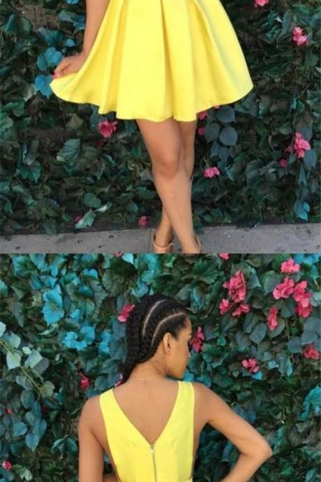A-Line Deep V-Neck Short Yellow Satin Homecoming Dress