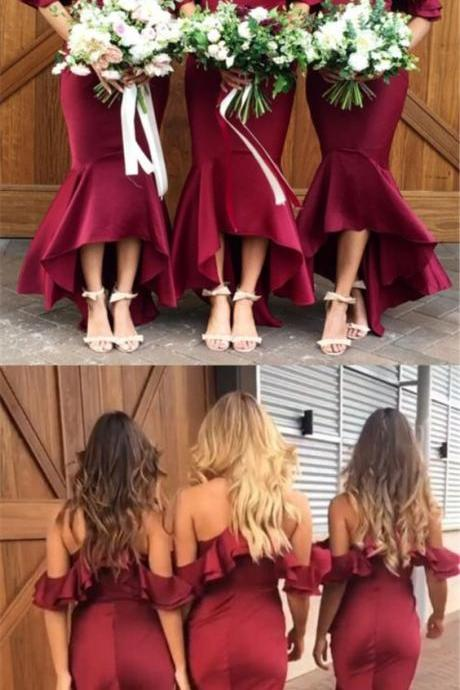Mermaid Cold Shoulder Burgundy Bridesmaid Dress with Ruffles