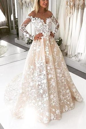 Ivory Lace Embroidery Nude Tulle Neckline Long Sleeves Wedding Dresses Champagne