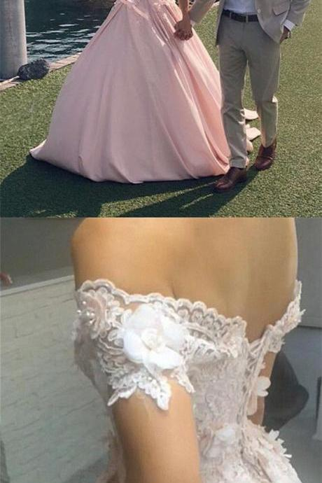 Beautiful Blush Pink Lace Off The Shoulder Ball Gown Satin Wedding Dresses