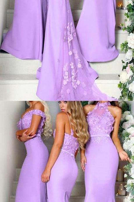 Chic Lace Flowers Embroidery Mermaid Long Bridesmaid Dresses Illusion Train
