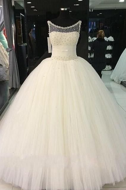 White Sleeveless Quinceanera Wedding Gown With Beaded Mesh Neck Line