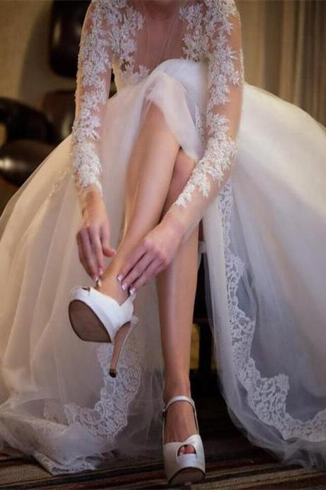 Long Sleeve Wedding Dresses,Sexy See Through Wedding Party Dresses,Lace Wedding Dress