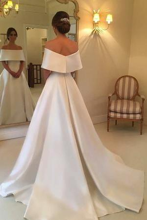 Simple Off-the-Shoulder Ivory Satin A-line Wedding Dress with Train