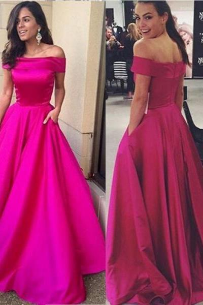 Simple Hot Pink Ball Gown Prom Dresses ,Hot Sales Off the Shoulder Prom Dress