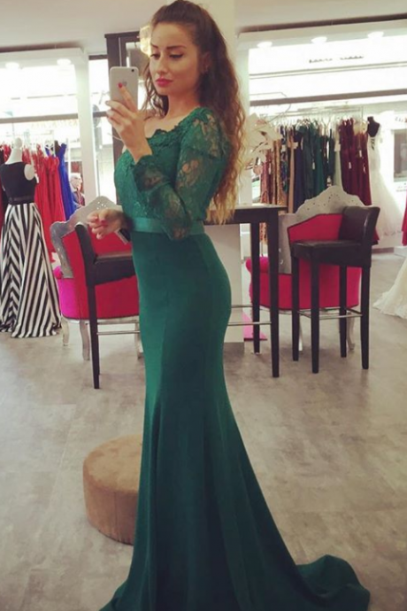 Dark Green Off The Shoulder Mermaid Prom Gown,Charming Prom Dress,Long Prom Dress,Party Dress,Women Dress For Party ,Cuatom Made Evening Prom Dress
