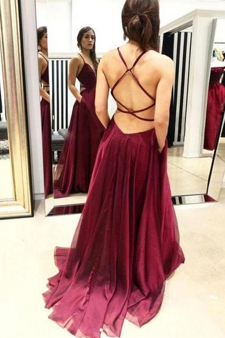 V Neck Prom Dress with Long Straps
