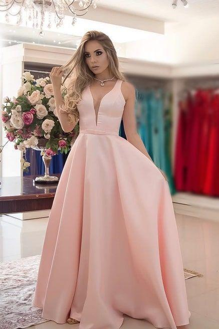Sleeveless Long Satin Prom Dress with Mesh Neckline