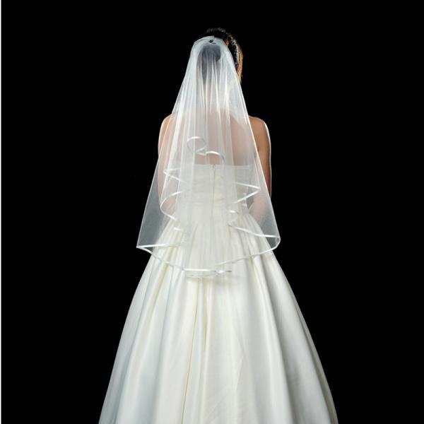 Two Layers Wedding Veils Ribbon Edge with Comb White 60cm First Layer and 80cm Second Layer