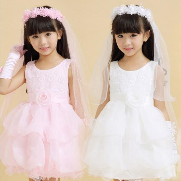 New White And Pink Flower Girl's Bridal Veil With Wreath Wedding Veil For Girls