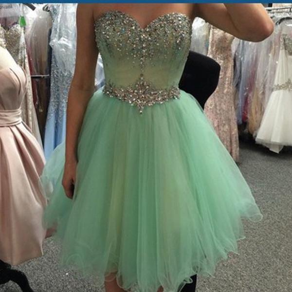 A Line Sweetheart Mint Tulle Homecoming Dresses Short Prom Dress,Rhinestones Fluffy Skirt Short Homecoming Dresses, Custom Made Short Prom Gowns Cocktail Dresses,Short Prom Graduation Dresses