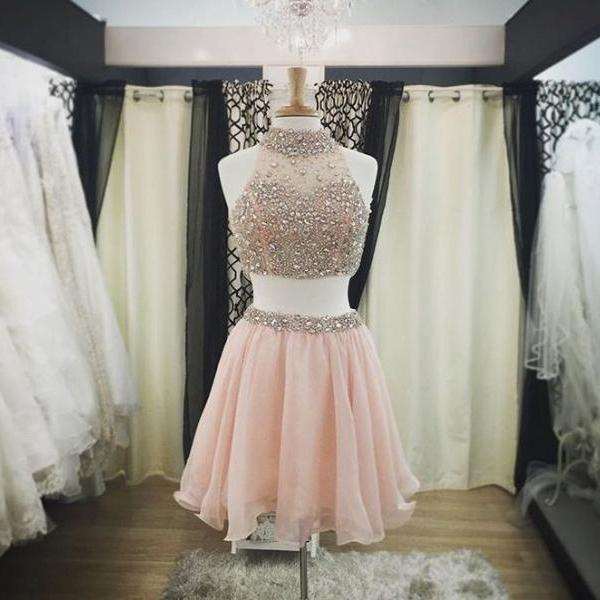 Two Pieces Short Homecoming Dresses,High Neck Skin Pink Homecoming Dresses,Beaded Crystals Short Prom Dresses ,2 Pieces Prom Gowns,Cocktail Dresses,Sexy Party Dress