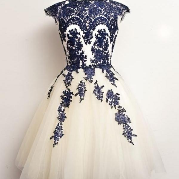 High Neck Cap Sleeves Royal Blue Lace Light Champagne Tulle Short Prom Dresses Homecoming Dress, Above Knee Length Bodice Prom Gowns, Cocktail Dress,Wedding Party Dress