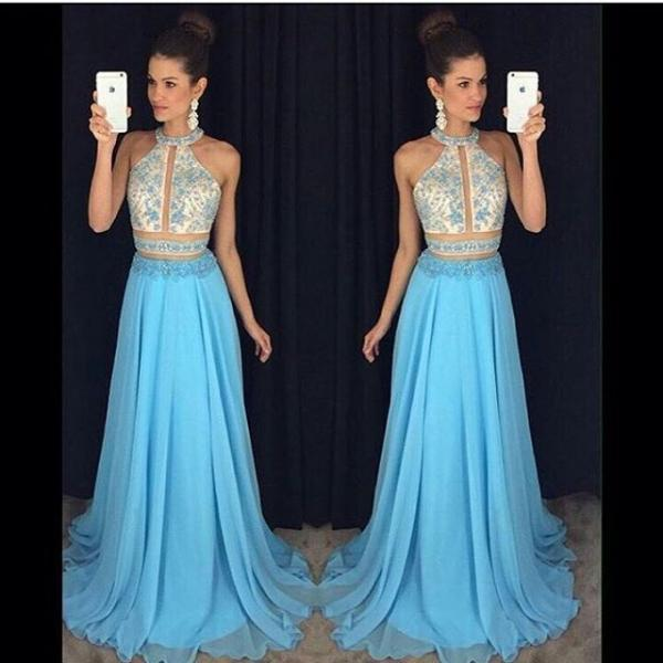 Evening Dresses, Prom Dresses,Prom Dresses,Prom Dress,Lace-Appliques Sweep-Train Chiffon Halter Newest Sleeveless A-line Prom Dress