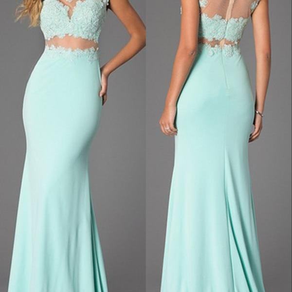 Mermaid Mint Green Lace Prom Dresses,Sexy Illusion Lace Evening Dresses,Mermaid Sexy Two Piece Prom Dress
