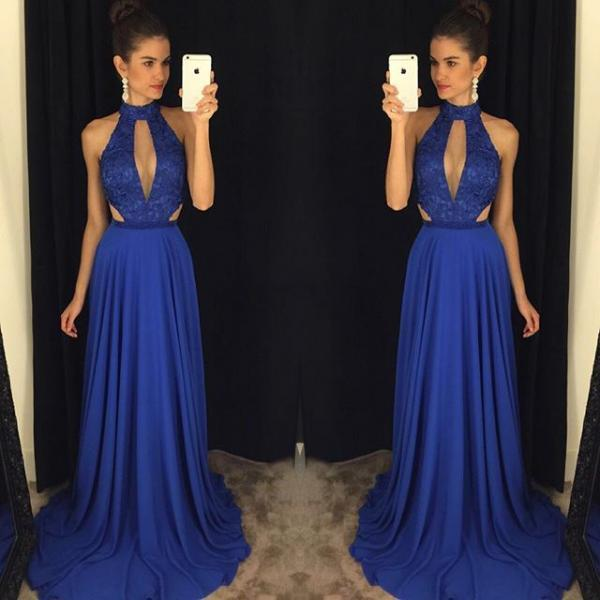 Dark Blue Halter Plunging Beaded A-line Long Prom Dress, Evening Dress with Cutout Detail and Sweep Train