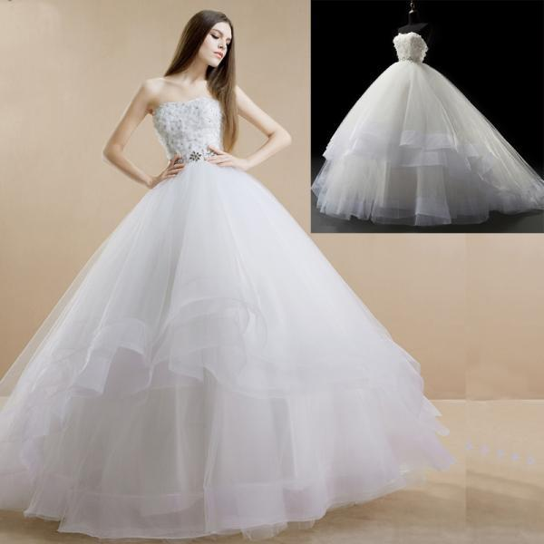 Floral Appliques Strapless Floor Length Tulle Ruffled Wedding Gown Featuring Beaded Embellished Belt