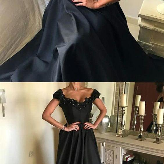elegant long black satin prom dresses lace v neck evening gowns