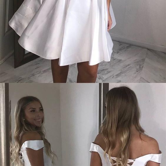 A-Line Off-the-Shoulder White Short Satin Homecoming Dress