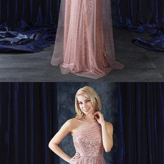 Rose Gold One Shoulder Sleeveless Prom Dresses Sequin Evening Dresses
