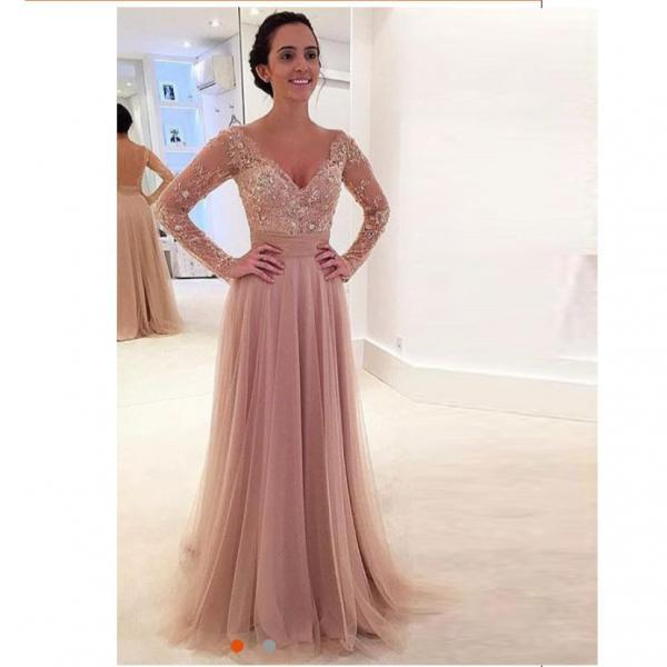 2019 Nude Tulle Long Sleeves V Neck Prom Dress With Sheer Back