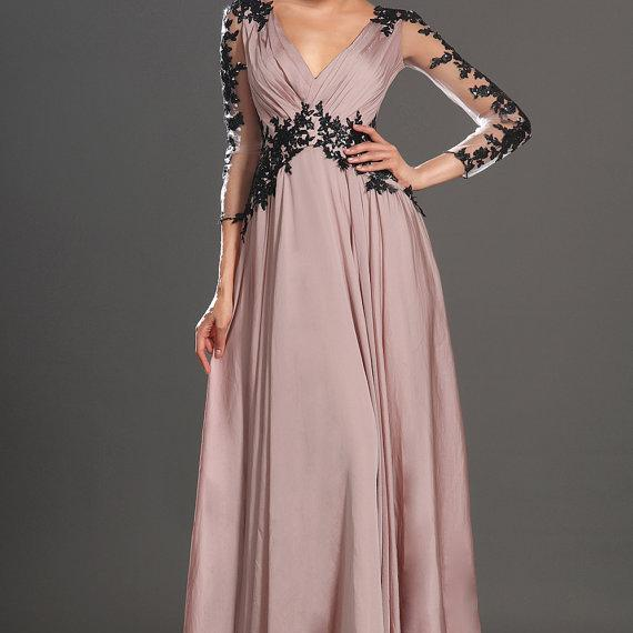 A line V neck Open Back Long Elegant Lace Prom Dresses with Long Sleeves Gowns